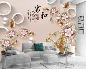 Custom 3d Luxury Floral Wallpaper Luxury Diamond Flowers Swan Lake Premium Atmospheric Interior Decoration Wallpaper
