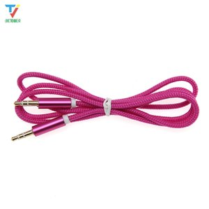 AUX Cable 3.5mm Jack Nylon Cable Frosted Metal Shell Male to Male Car Aux Auxiliary Cord for Phone MP3 Tablet PC Stereo Audio Cable 100pcs