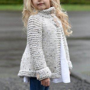 Neue Mädchen-Strickjacke-Mantel-Kleinkind-Kind-Baby-Outfit Kleidung Knopf gestrickten Pullover Strickjacke Mantel Tops V191203