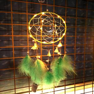 Traumfänger Wind Chimes 6 Farben LED-Feder-Wand hängende Verzierung Traumfänger Schlafzimmer Weihnachtsdekoration OOA7450-5