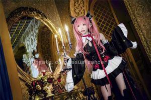 Costumes mulheres e meninas de alta qualidade anime angel bruxa vampiro Papel Cosplay Set Vestido rosa peruca Feminino Vestidos Sexy Meninas trajes bonitos