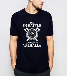 HAMPSON LANQE Die In Battle Viking Men T-Shirts 2019 Summer Cotton Slim Fit Men's T Shirt TV Show Tops Tees Hip Hop Streetwear