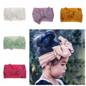 10 farben Mode Baby Mädchen großen bogen stirnbänder Elastische Bowknot haarbänder headwear Kinder kopfschmuck stirnbänder neugeborenen Turban Kopf Wraps