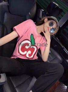 2020 Sleeve Sprint Mulheres curto camisetas Marca Carta Lantejoula camiseta Rodada Rosa Collar Design de Moda Casual Tops roupas de verão S-2XL