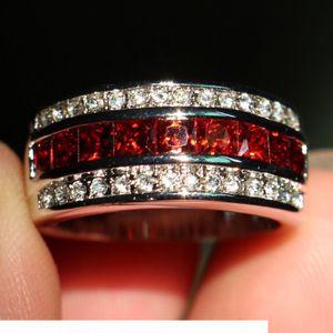 Size 8-12 Fashion Jewelry Antique Jewelry Men Garnet Diamonique Cz Diamond Gemstone 10KT White Gold Filled Wedding Band Ring gift with box