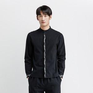 Mr-DONOOCHIESE نمط سحابة الطوطم التطريز عارضة قميص طويل الأكمام معيار صالح قميص الرجال camisas بلوزة سوداء بيضاء 4018-SC5