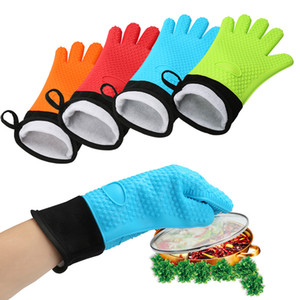 Thicken Nonslip Heat Insulation Five Fingers Gloves Silicone Microwave Oven Glove Kitchen Cooking Baking BBQ High Temperature