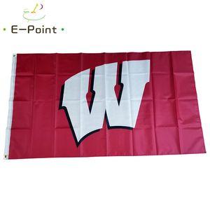 Wisconsin Badgers Flag 3 ft * 5 Fuß (150cm * 90cm) Flagge Banner Dekoration nach Hause fliegen Garten im Freien Geschenk