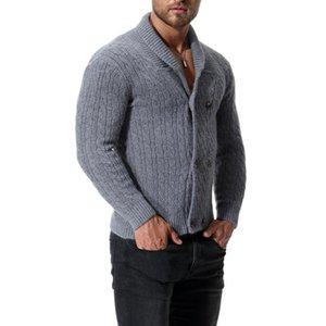 suéteres manga Varsanol punto de los hombres de algodón con capucha larga Outwear Man