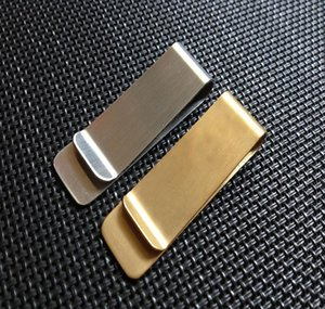 Portable Stainless Steel Brass Money Clipper Slim Money Wallet Clip Clamp Card Holder Credit Name Card Holder 15*50*0.8mm SN1086