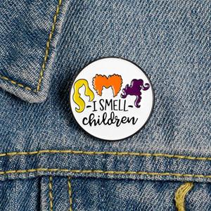 나는 어린이 에나멜 핀 정의 할로윈 브로치 옷깃 핀 셔츠 가방 라운드 배지 재미 보석 선물 키즈 친구 냄새