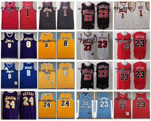 Vintage ChicagoBullsJersey 1 Derrick Rose 23 Michael JD Dikişli Basketbol Jersey Erkek Retro LakersKobeBryant Formalar