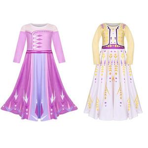 Caída de la muchacha ropa nueva primavera de vestir traje de Snow Queen manga larga del O-cuello del vestido del diseño de ropa