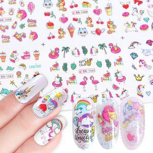 12pcs / SET engomada linda para la niña Nails Art deslizante Conjunto unicornio flamenco búho Animal Flower Designs etiquetas del clavo extremidades manicura agua de láminas