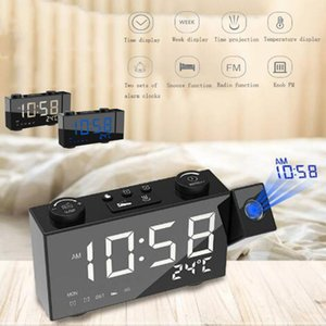 Digital LED Display FM Radio Projection Alarm Clock Time Voice Talking Projector Laser Rotatable Clock Display Desk Watch