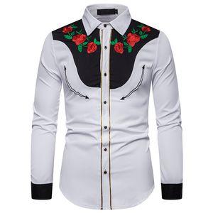 Erkek Camisa için Toptan Şık Batı Kovboy Günlük Gömlek Erkekler Tasarımcı Nakış Slim Fit Casual Gömlek Modelleri Erkek Düğün Gömlek