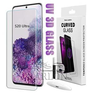 Sıvı Tam Tutkal Durumda Dostu Temperli Cam Samsung Galaxy S21 S20 Ultra S10 S9 S8 Artı Not 20 10 9 8 ile UV Işık Ekran Koruyucu