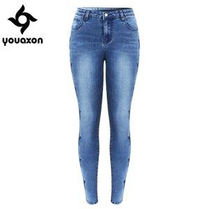 2142 Youaxon Nueva haber llegado Estrellas vaqueros bordados para las mujeres elásticos de cinco bolsillos bordado dril de algodón pantalones pantalones flacos