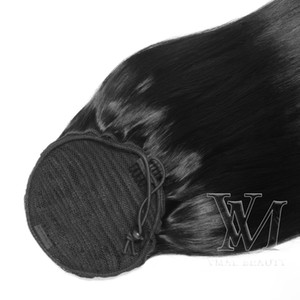 """VMAE #1 Jet Blck 140g 14"""" to 26"""" inch Remy Hair horsetail tight hole Ponytail Brazilian Indian Human Hair Extensions"""