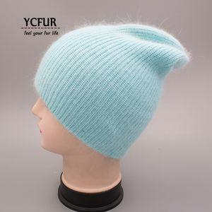YCFUR Frauen-Winter-Herbst-Hut-Kappe Female Knit Woll Mützen Caps für Frauen Angora Haar Freizeitmütze Skullies für Mädchen