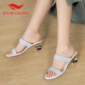 Jouir TALONS 2020 Tacchi Dropship Donne Muli Sandali stile strano Peep Toe Pumps Fretwork estate casuale della donna scarpe