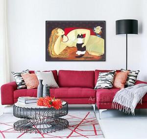 Nuevo arte decorativo 100% a mano pintura al óleo de la mujer y el gato en la lona abstracta moderna de la pared de la sala de imagen Pinturas Decoracion B-04