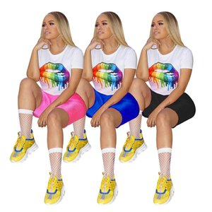 Frauen Sommer Designer Trainingsanzüge Bunte Lip Printed T-Shirts dünne Shorts 2pcs Kleidung Sets