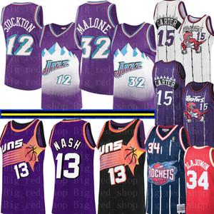 NCAA Steve Nash 13 College Vince Carter 15 Jersey Hommes John Stockton 12 Karl Malone 32 Abdul Olajuwon 34 Basketball Maillots