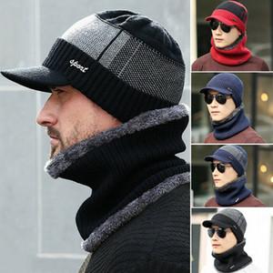 2adet Erkekler Kış Sıcak Şapka Eşarp Moda Örme Visors Beanie Fleece Çizgili erkekler Brim Cap ile Beanie Bere Skullies takkelerden