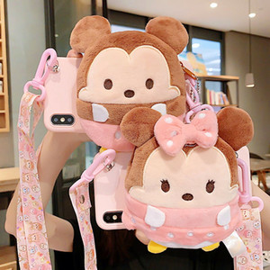 Luxury Designer 3D Plush Cartoon Coin Cute Wallet lanyard Crossbody Case For iPhone 11 pro XR XS Max 6 7 8 Plus X Soft Silicone Strap Cover