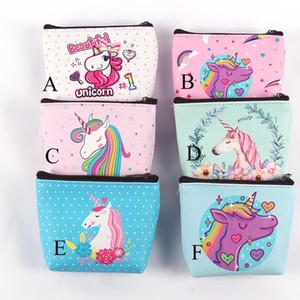 Unicórnio bolsas Meninas carteira mulheres dobra bolso sacos-de-rosa dos desenhos animados Rose Organizer Armazenamento de papelaria saco caçoa o presente bolsas C2