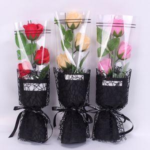 Día Maestro Día de San Valentín Rose Jabón ramo de flores artificiales de Rose perfumado jabón de baño con la caja de la boda Día de la Madre Decoración GGA3179-3 regalo
