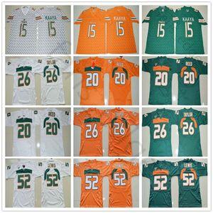 NCAA Miami Hurricanes Koleji 15. Brad Kaaya Jersey Turuncu Yeşil Beyaz 20 Reed 26 Sean Taylor 52 Ray Lewis Futbol Formalar