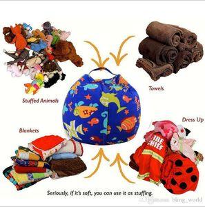 Stuffed Animal Storage Beanbag Chair Kids Toy Storage Bean Bag Child Clothes Plush Toy Organizer Play Mat 43 Designs YW668