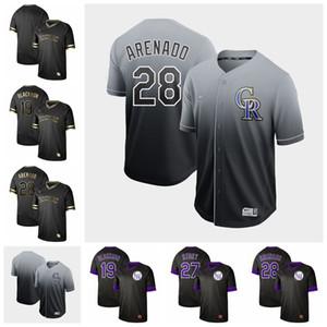 2019 para hombre de Colorado Negro Oro 19 Charlie Blackmon 5 Carlos González 27 Trevor Historia 28 Nolan Arenado Rocosas camisetas de béisbol