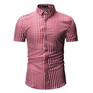 Men New Check Shirts Summer Short Sleeve Loose Fit Business Formal Casual Plaid Shirt Holiday Beach Tourism Daily Life Red Blue