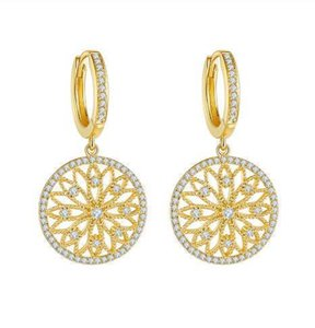 Designer Earrings 14K Gold Real Diamond Earring Round Hollow Wedding pure Gemstone for Women Peridot Bizuteria Drop Earring Jewelry