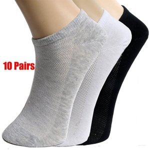 20Pcs = 10Pair Katı Mesh Erkek çorapları Görünmez Ayak bileği Çorap Erkekler Yaz Nefes İnce Erkek Tekne Çorap SICAK SATIŞ