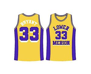 Baloncesto Jersey CUSTOM Hombres Mujeres Niños Younth XXS-6XL personalizados Bryant amarillo Lower Merion alternativo Secundaria