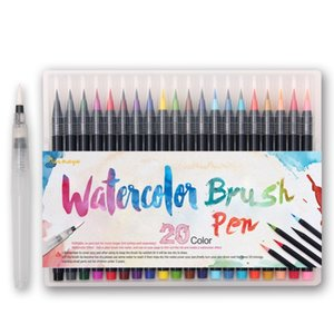 20 Colori Premium Pittura Soft Brush Set Pennarelli Acquerelli Effetto penna Ideale per libri da colorare Manga Comic Calligraphy Q190604
