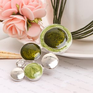 Fashion New Jewelry Sets Green Rope Chain Round Beads Pendant Necklace Drop Earring High Quality Bridal Wedding Summer Jewelry