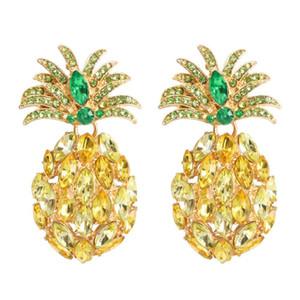 diamants d'ananas balancent des boucles d'oreilles pour les femmes de cristal de luxe lustre coloré charme boucle d'oreille en alliage bijoux fruit strass