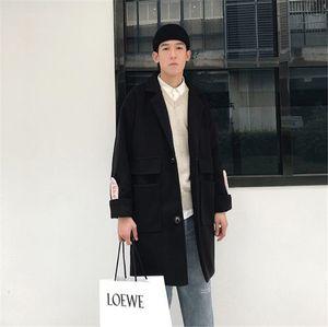 Mens Cartas Diseñador otoño Coats manera I como si bordado manga solo pecho chaqueta de abrigo de lana capa ocasional Mezclas adolescentes