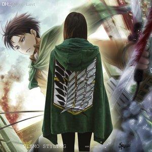 Wholesale-New Shingeki no Kyojin Attack on Titan Cosplay Costume The Scouting Legion Eren Jaeger CORAL FLEECE Cloak Cape Dust Coat