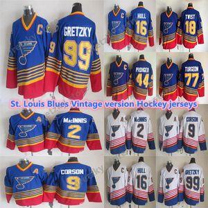 St. Louis Blues Vintage Jerseys 99 Gretzky 16 هال 9 كورسون 2 Macinnis 44 Pronger 18 تويست 77 Turgeon ممتاز CCM الهوكي الفانيلة