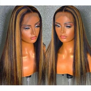 180% Density Lace Front Human Hair Wig Straight Highlight Color Hair Pre Plucked Bleached Knots 13*4 Brazilian Remy