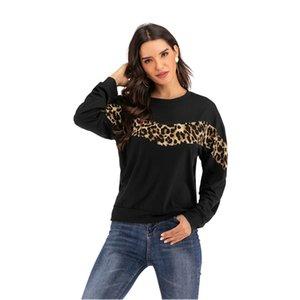 NOUVEAU Noir Panneau de léopard Pull femmes O col Athleisure Sweat-shirt 2020 Printemps Automne Bureau Casual Lady Sweat Femme K777