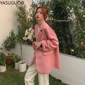 YASUGUOJI New 2020 Rosa Blazer Frauen koreanische Art und Weise Zweireihig Schwarz Beige Damen Blazer Harajuku Büro-Damen elegant