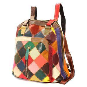 Designer-AEQUEEN femmes Sac à dos Véritable motif coloré patchwork à carreaux en cuir Vintage School Sacs Sac à bandoulière décontracté couleur aléatoire