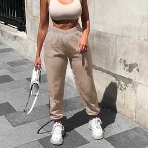 Donna jogging gamba larga pantaloni della tuta Donne Pantaloni Taglie Pantaloni a vita alta Streetwear casuale della mutanda Femme caduta